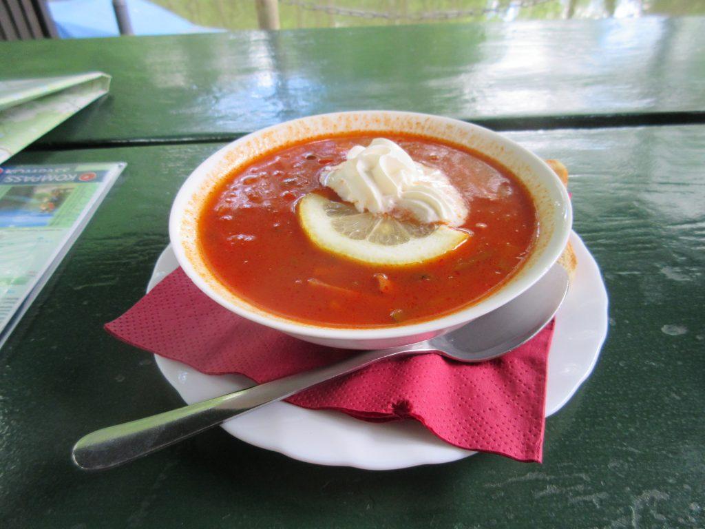 Auf keinen Fall verpassen sollten Sie beim Wandern im Spreewald eine köstliche Soljanka!
