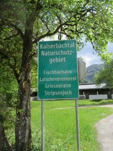 Kaiserbachtal = Naturschutzgebiet. Beim Wandern beachten!