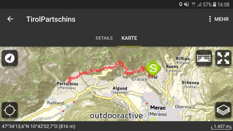Und das war der Verlauf unserer Tour. Auf diesem Wege sind wir vom Dorf Tirol nach Partschins wandern gewesen!