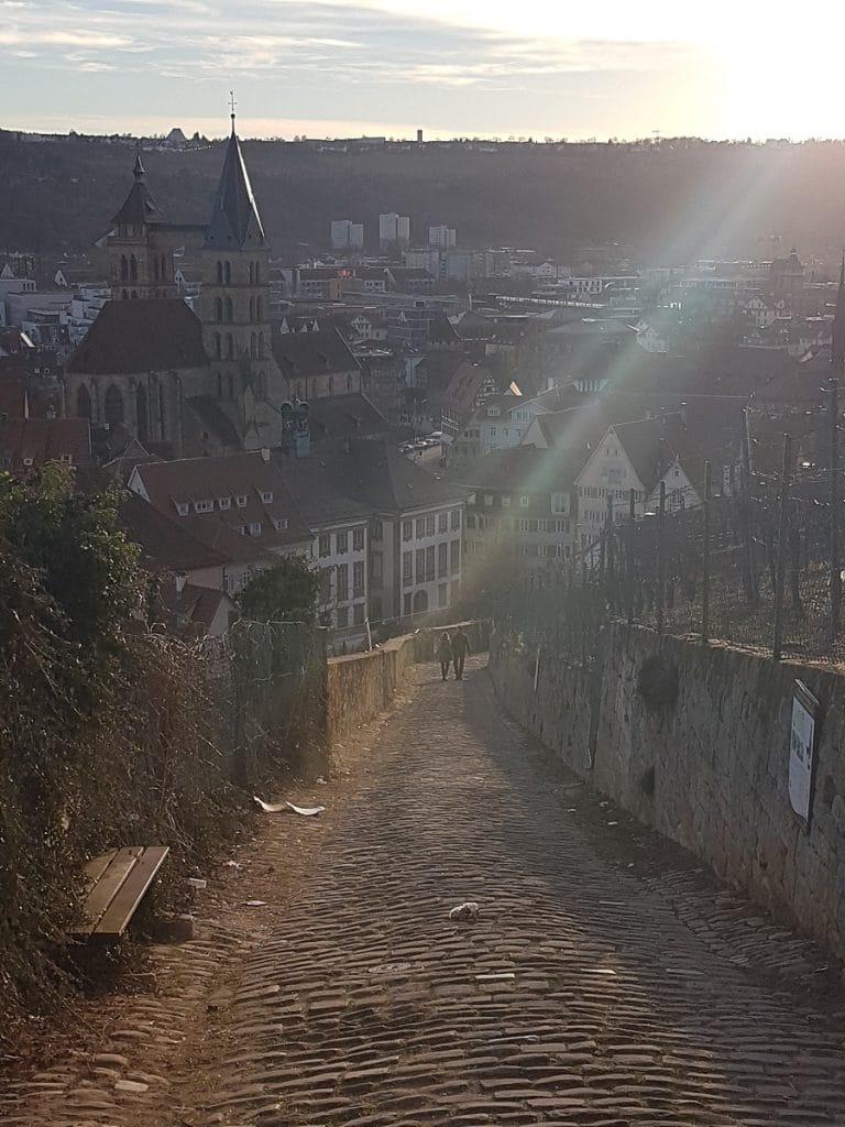 Von nun an geht`s bergab: von der Burg Esslingen geht`s in die Innenstadt!