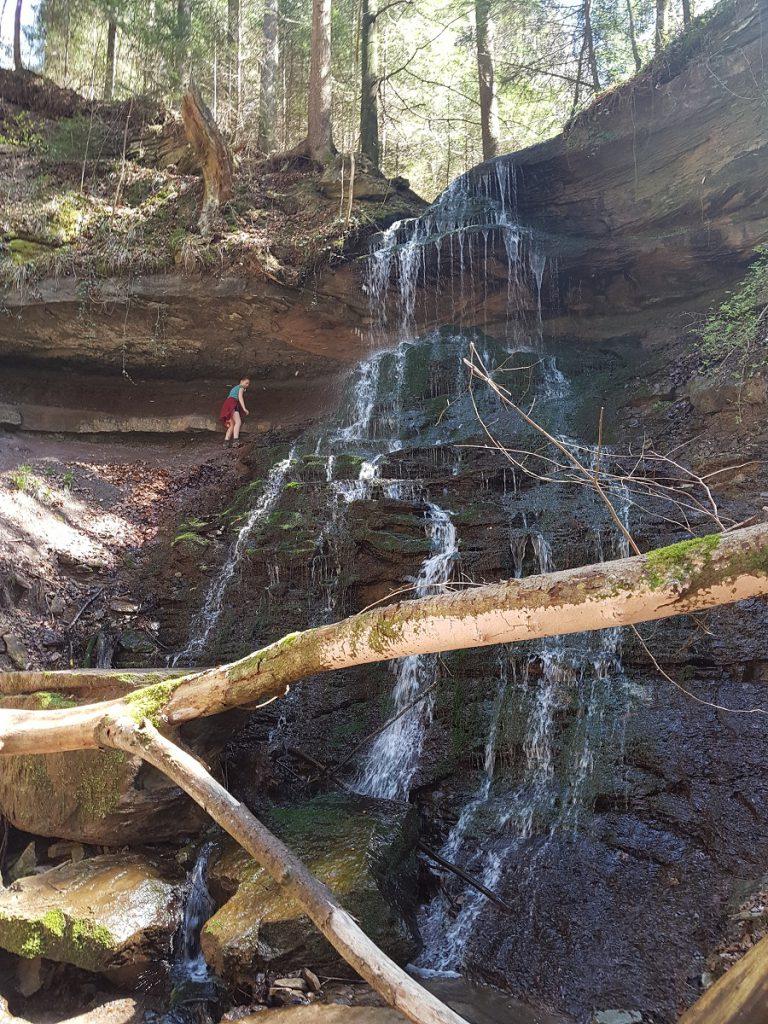 Wir erreichen den Hinteren Wasserfall der Hörschbachschlucht. Wie interessant das Wandern in dieser Schlucht ist!
