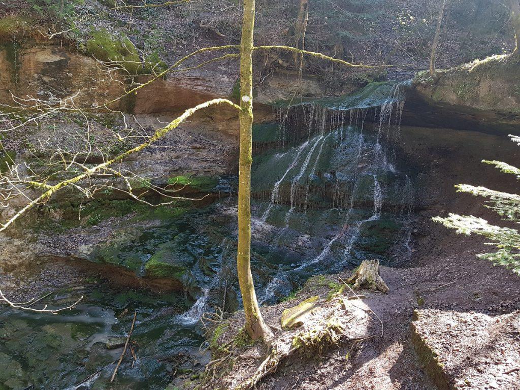 Sieht kleiner aus, als er ist. Einer der hinteren Wasserfälle in der Hörschbachschlucht. Nach 2km wandern durch die Schlucht geht es jetzt durch Wald und Wiese weiter Richtung Murrhardt!
