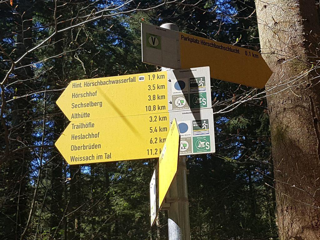 Wir wandern durch die Hörschbachschlucht weiter Richtung Hinterer Wasserfall!