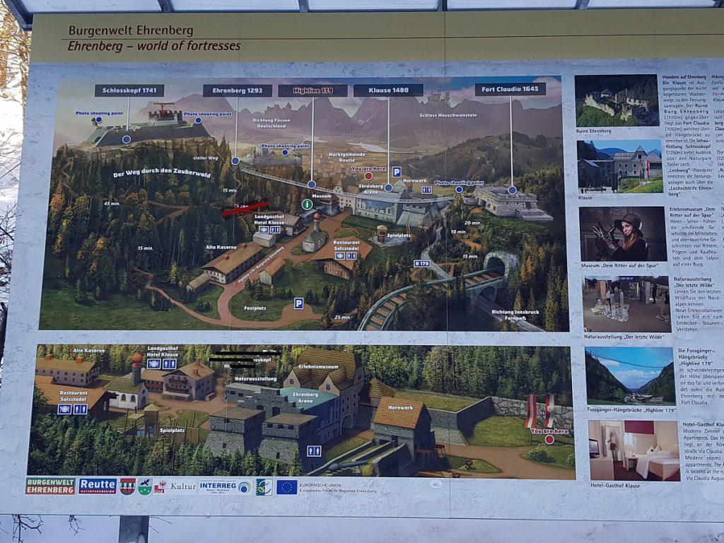 Mehrere ausführliche Schilder erklären uns die Burgenwelt Ehrenberg bei Reutte!