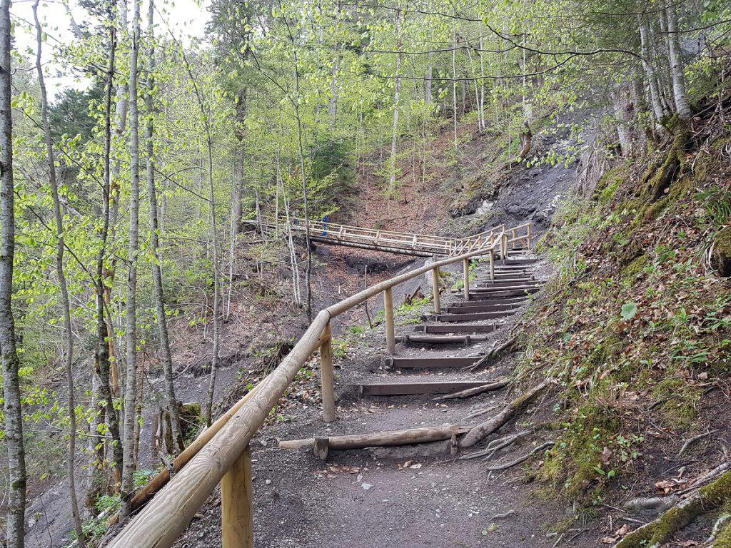 Von nun an gehts bergauf: wir wandern ein paar Meter in die Höhe und können schon bald von oben auf die Partnachklamm schauen!