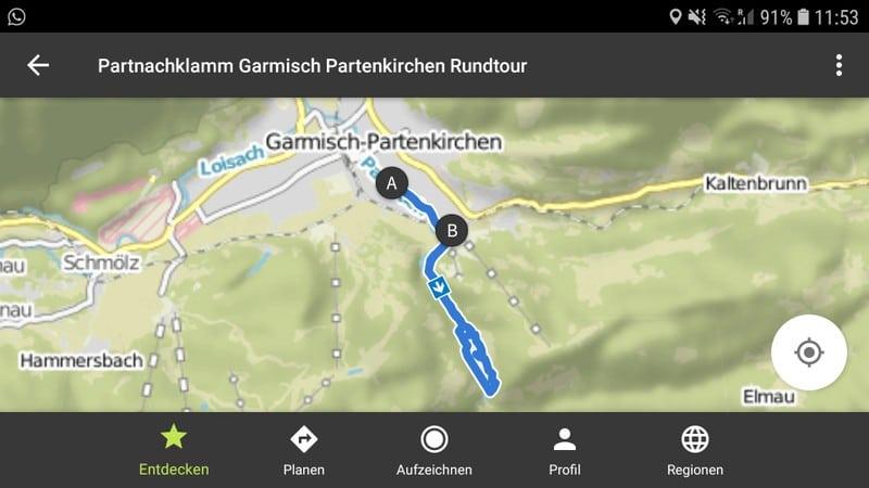 Partnachklamm Wandern Rundtour Strecke