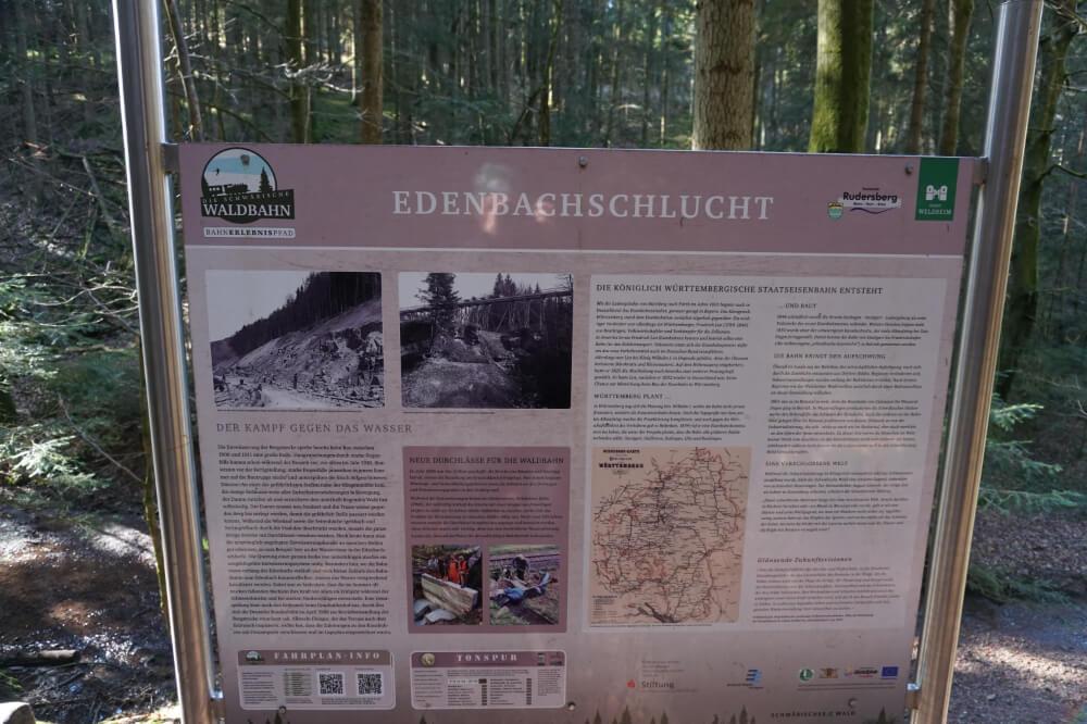 Informationstafel zur Edenbachschlucht