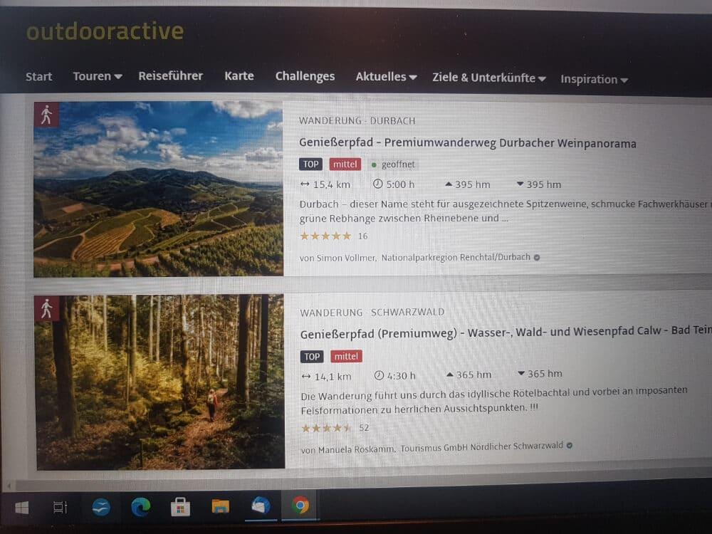 Desktop Ansicht von der Outdoor App