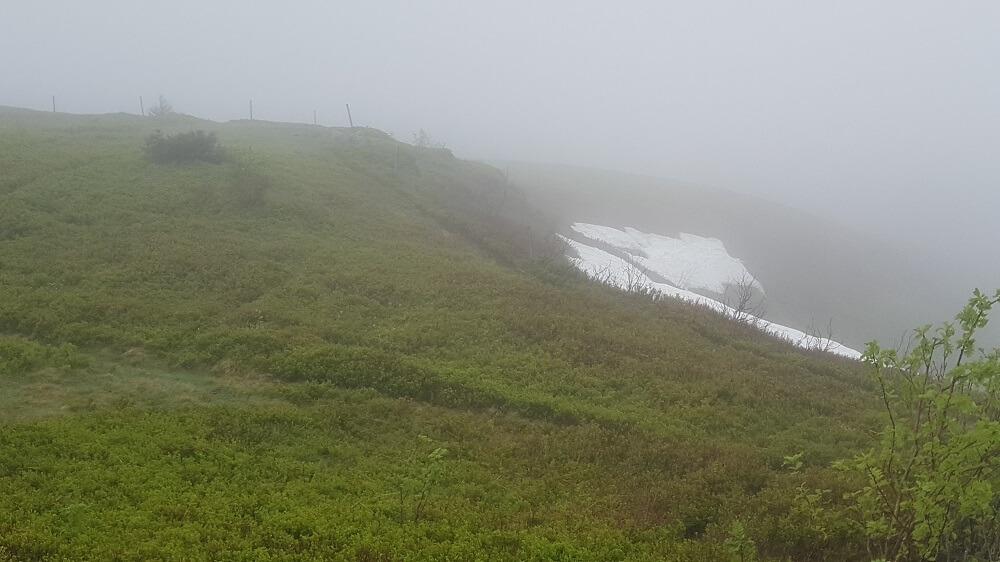 Schneereste auf Berg